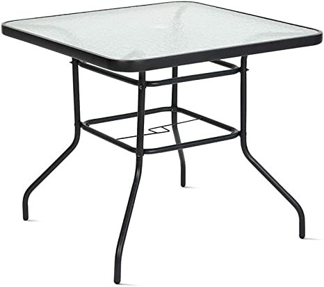 Amazon Com Finefind 32 X 32 Outdoor Dining Table Tempered Glass Table Patio Bistro Table Top Umbrella Stand Square Table Deck Outdoor Furniture Garden Table Dark Chocolate Kitchen Dining