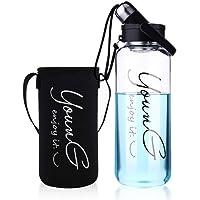 sunkey Grande Botella Agua Cristal 1,5L / 2 litros Deportiva de Claro Borosilicato Vidrio sin Bpa Portátil Reutilizable…