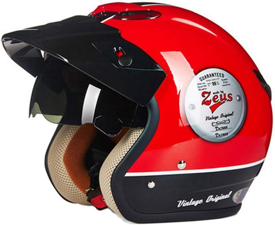 Motorrad Halbe Helm Retro Roller Helm Sturzhelm Scooter F/ür Damen Herren Erwachsene Open Face MotorradHelm