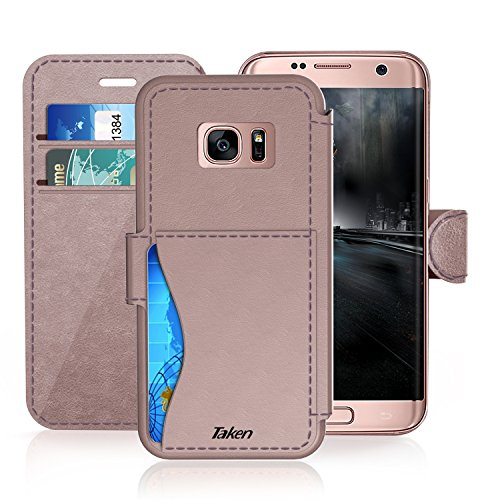 Samsung Galaxy S 7 Edge Leather Wallet Case with Cards Slot and Metal Magnetic, TAKEN Galaxy S7 Edge Plastic Flip Case / Cover, Vintage and Fashion, Durable and Shockproof Holster (Rose Gold) 2016