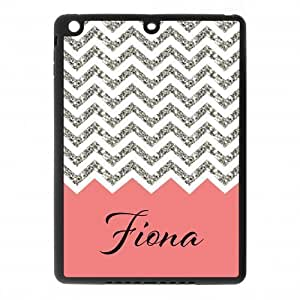 Black and White Chevron with Coral Handwriting Monogram Design Custom Luxury Cover Case For Ipad air( Black ) ALL MY DREAMS!!