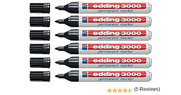 Edding 3000 marcador permanente, 6er-Pack, Negro, 1: Amazon.es: Industria, empresas y ciencia