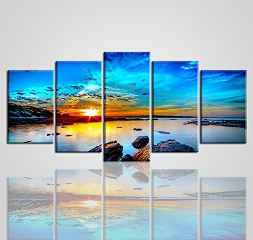 Beach Painting Canvas Wall Art, SZ 5 Piece Beautiful Sunset