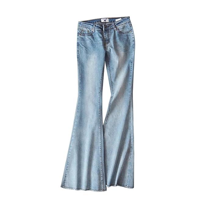 ZKOO Pantalones Vaqueros Mujeres Slim Cintura Alta ...