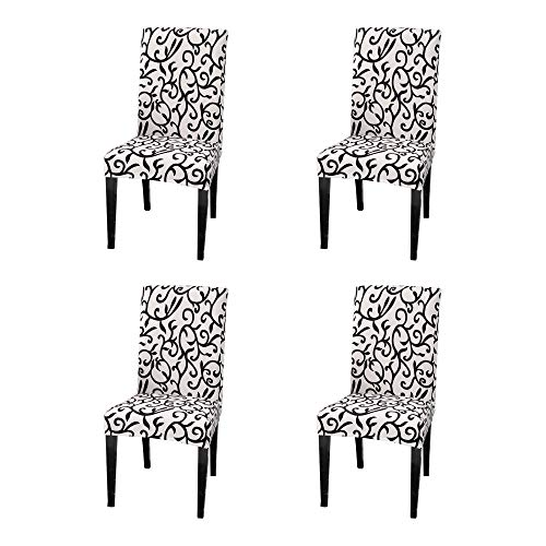 Argstar 4 Pack Chair Slipcovers for Dining Room Spandex Protector Covers for Kitchen Black White Pattern X_14