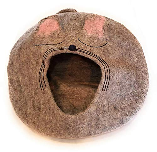 Himalaya Clothing Natural Felted Wool Cat Cave Unique Hideaway Handmade in Nepal Cute Mouse Design (Grey)