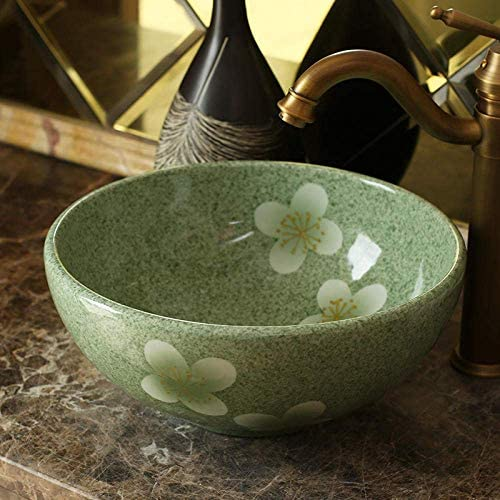 Yadianna 30CM中国芸術手作りセラミック洗面台カウンタートップ浴室洗濯basinbowl小さなセラミック洗面台のバスルームのシンク@ one_set