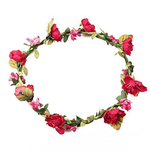 Floral Fall Boho Headband Flower Crown Festival Wedding Beach Hair Wreath F-01 (Fuchsia)