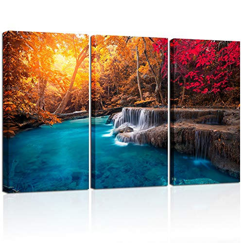 Visual Art Decor Large L-48 X H-32 Blue Lake in Autumn Forest Picture Wall Art Red Tree Nature Scenery Giclee Canvas Prints Ready to Hang for Modern Living Room Bedroom Office Decoration 3 Pieces