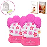 BabyBliss Teething Mittens (2pcs) – Pink – Self-Soothing Teether Toys for Girls – BPA-Free, Food-Grade Silicone Mitt – with Storage and Mesh Laundry Bags – Perfect