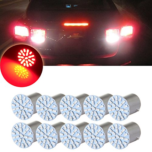 (cciyu 10pcs 1156 22SMD Red LED Exterior Light Bulbs Replacement fit for Backup,Reverse, Tail,RV Lights)