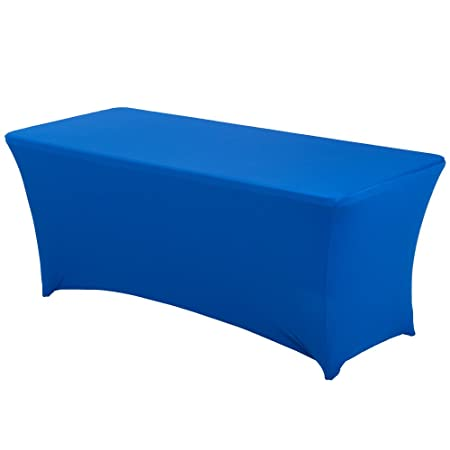 10eee02129a93 HAORUI Spandex Stretch Lycra Table Cover Cloth 6ft Foot Rectangular Fit  Wedding Banquet Trestle Table (Royal Blue): Amazon.co.uk: Kitchen & Home