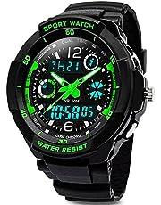 Digital Uhren für Kinder Jungen - Wasserdicht Outdoor Sports Digitaluhren Analog Armbanduhr mit Wecker/Timer/LED-Licht, Elektronische Stoßfest Handgelenk Uhr für Jugendliche Kinderuhren