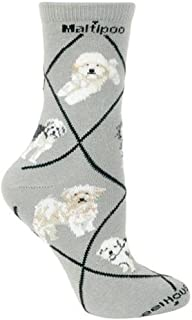 product image for Maltipoo Dogs on Gray Stretch Cotton Crew Socks One Size Fits Most
