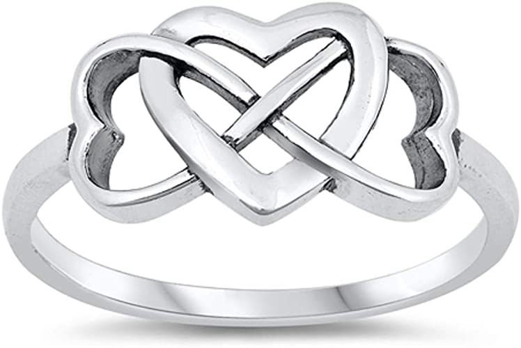CloseoutWarehouse Clear Cubic Zirconia Infinity Leaf Ring Sterling Silver