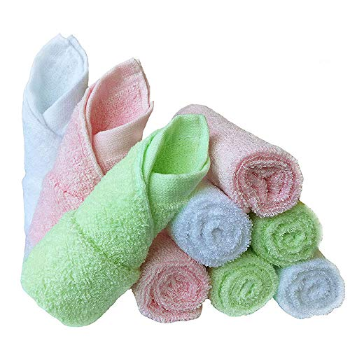 Baby Washcloths Natural Organic Bamboo Baby Face Towels - Reusable and Extra Soft Newborn Baby Bath Washcloths - Suitable for Sensitive Skin Baby Registry as Shower Gift Set 9 Pack 10x10 inches