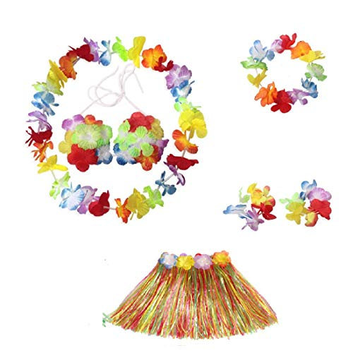 KayMayn 6 Pieces for a Set Hawaiian Multi-Coloured Lei Flower Garland,Silk Flowers,Fancy Dress Set,for Party Fancy Dress and Tropical Beach for Adults Unisex,Assorted Colors(6 Pieces for a Set/Adults