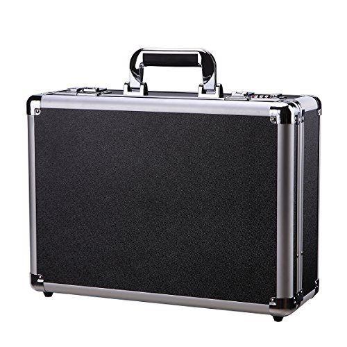 (Black Aluminum Case Flight Case Tool Box Silver Metal Frame Hard Carrying Case with Dual)