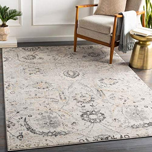 Georgiana 9 x 12 4 Rectangle Updated Traditional 100 Polypropylene Charcoal Tan Black Beige Medium Gray White Area Rug