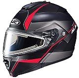 HJC Helmets IS-MAX2SN MINE Unisex-Adult Modular/Flip-Up Snow Helmet with Frameless Electric Shield (Black/Red, XX-Large)