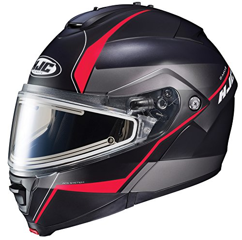 HJC Helmets IS-MAX2SN MINE Unisex-Adult Modular/Flip-Up Snow Helmet with Frameless Electric Shield (Black/Red, XX-Large) ()
