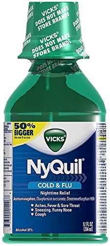 (Vicks Nyquil Cold & Flu Nighttime Relief Liquid, Original Flavor 12 oz (Pack of)