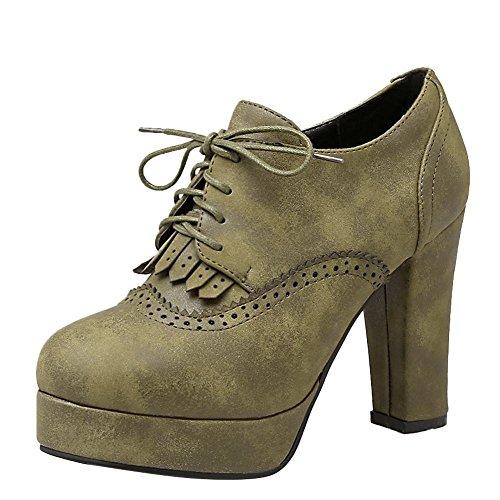 Carolbar Womens Lace-Up Retro Platform Chunky High Heel Ankle Boots Army Green nWVJL