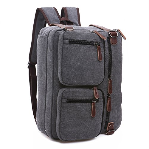 BAOSHA HB-22 Vintage lienzo bolso de mano hombres del maletín mochila Convertible bolsa de ordenador portátil mochila de viaje senderismo mochila marrón café 38.5 x 28.5 x 13 CM (Azul) Gris para Laptop de 14 ~ 15.6 pulgadas