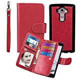 Case for G G4, xhorizon TM SR [Upgraded] 2 in 1 Premium Leather [Wallet Function][Magnetic Detachable][Magnetic Car Mount Phone Holder Compatible]Folio Cover Case For LG G4 - Red