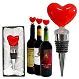Premium Decorative Glass Red Heart Wine and Beverage Bottle Stopper, Cork, Handmade for Gift, Party, Decor, Christmas, Halloween, Wedding and Valentines (With Gift Box) [1 Piece]