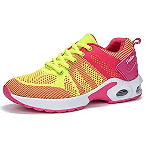 Women's Lightweight Comfortable Running Shoes Breathable Tennis Shoes Sports Shoes Casual Walking Sneakers(Air cushion, Yellow-37)