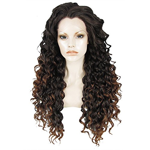 Ebingoo Black Brown Mix Lace Front Wig for Women Long Kinky Curly Wave Synthetic Soft Wig with Widow Peak Free Part Glueless Heat Resistant Fiber