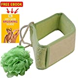 Loofah Back Scrubber Brush Exfoliating For Bath and Shower Men and Women - Easy to Use Body Scrubber & Back Exfoliator for Promoting Healthy Skin - Bonus Mesh Body Sponge Included!