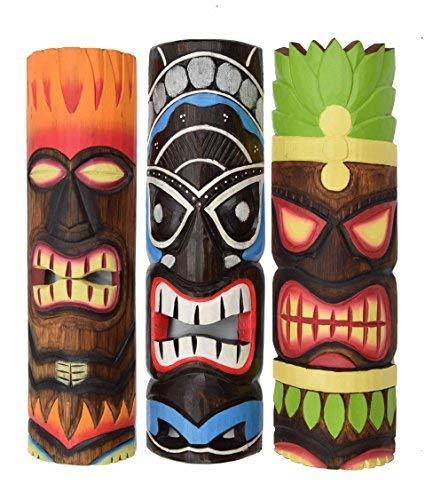 3 Tiki Wandmasken 50cm im Hawaii Style 3er Set Holzmaske Wandmaske Südsee Maske Karibik
