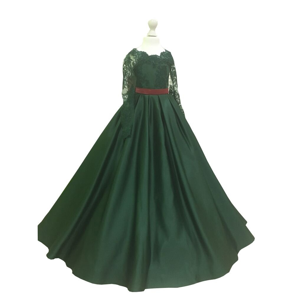Banfvting Dark Green Girls Pageant Dress With Bow Lace Sleeves