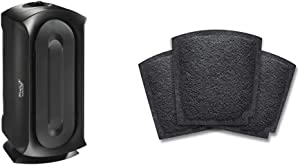 Hamilton Beach TrueAir Air Purifier for Home or Office with Permanent HEPA Filter for Allergies and Pets, Black (04386A) & TrueAir Replacement Carbon Filter for Odor Eliminators, 3-Pack (04234G)