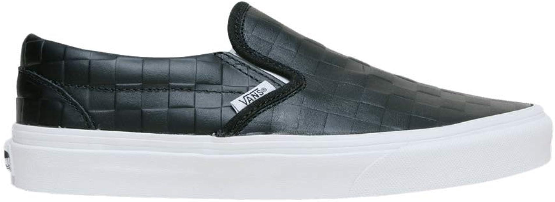 all black leather slip on vans