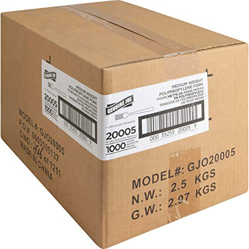 Genuine Joe GJO20005 Forks, Med-Weight, 1000/Ct, White, 8.66