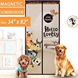 "ALotus Magnetic Screen Door with Full Frame Velcro and Whole Magnets Strip-Fasteners to Keep Bugs Out,Retractable Mesh Door Screen - Tough and Durable (Fits Door Openings up to 34""x82"")"