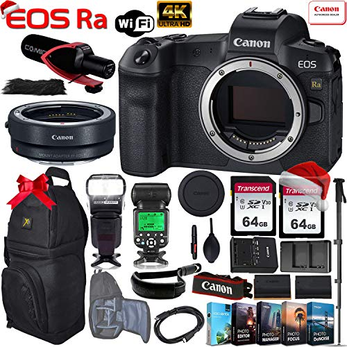 Canon EOS Ra Mirrorless Digital Camera (Body Only) with Canon EF-EOS R Mount Adapter + 2 x 64GB Memory Cards, TTL Flash, Pro Mic, Sling Case, Canon Wrist Strap and More