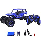 HUKOER Remote Control Car - Four-wheel drive off-road vehicles 2.4GHZ 1:16 Scale Bigfoot Rock Climbing Off-Road Vehicle Sandy Beach Off-Road Vehicle Toy (Blue)