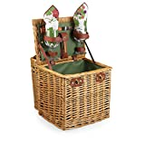 Picnic Time 'Vino' Picnic Basket with Wine and Cheese Service for Two, Pine Green