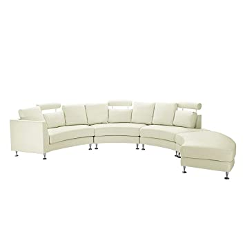 Beliani Ledersofa Rundes Sofa Ledercouch Couch Aus Leder In
