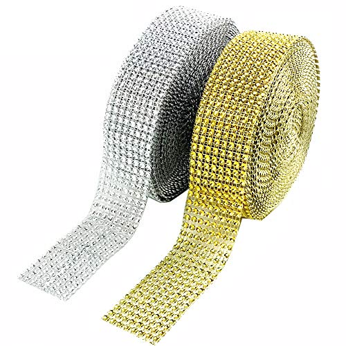 CEWOR 2 Rolls 8 Row 10 Yard/Roll Acrylic Rhinestone Diamond Net Ribbons Sparkling Mesh for Wedding Cakes DIY Decoration Arts and Crafts Projects (Silver and Gold) -