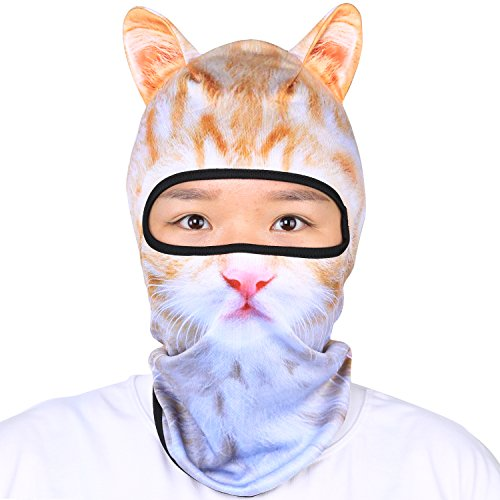 Oumers Animal Balaclava Face Mask with Ears Breathable Hood Face Shield for Outdoor Sports Cycling Motorcycle Ski Halloween Party Gift, One Size Fit Most -White-Yellow Color Cat -