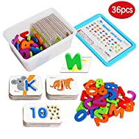 JCREN Numbers and Alphabets Flash Cards for Toddlers ABC Wooden Jigsaw Puzzle Letter Number Card Board Preschool Kindergarten Educational Matching Game Montessori Toys Gift for Kids Age 3 4 5 6 7 8