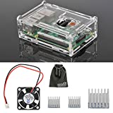 EEEKit 3-in-1 Accessories Kit for Raspberry Pi 3 Model B, Pi 2 Model B, Pi Model B+,Clear Protective Housing Box Cover Case + Cooling Fan + 3 Pcs Heatsinks