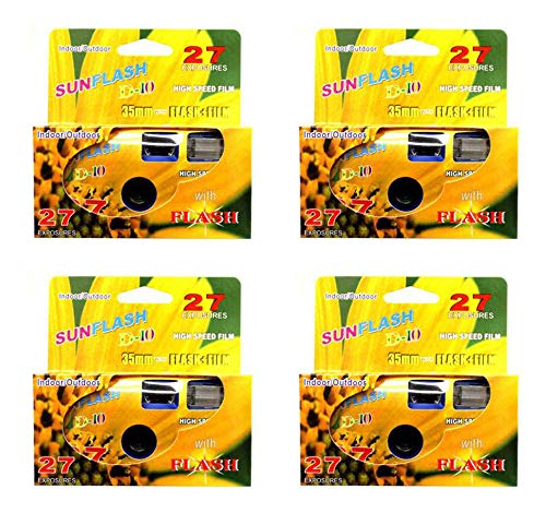 SunFlash Disposable Camera 35mm Film One Time Single Use D-10 Fresh 2020 (4-Pack)
