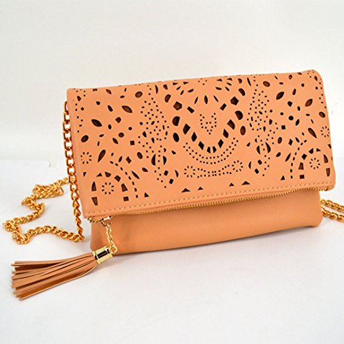 Leather Out Beige Envelope Women's Pu Tote Chain Hollow Clutch Evening 949 Flower Meliya Handbag Bag Shoulder f0Uxgq4