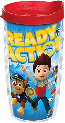 Tervis 1169191 Nickelodeon - Paw Patrol Tumbler with Wrap and Red Lid 10oz Wavy, Clear